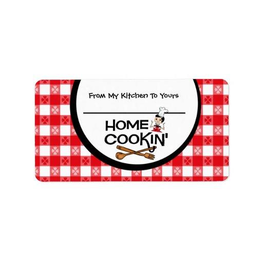 Cookin casero personalizó la etiqueta de la comida etiquetas de dirección