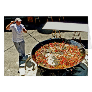 Cooking a giant paella card