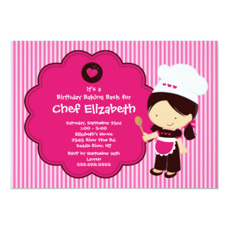 "Cooking Baking Birthday Party Invitation 5"" X 7"" Invitation Card"