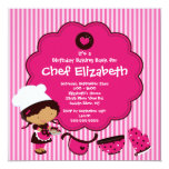 "Cooking Baking Birthday Party Invitation 5.25"" Square Invitation Card"