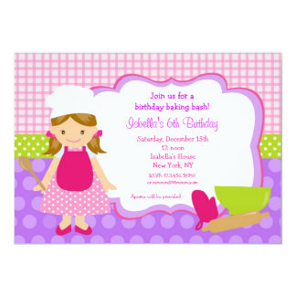 "Cooking Baking Birthday Party Invitations 5"" X 7"" Invitation Card"