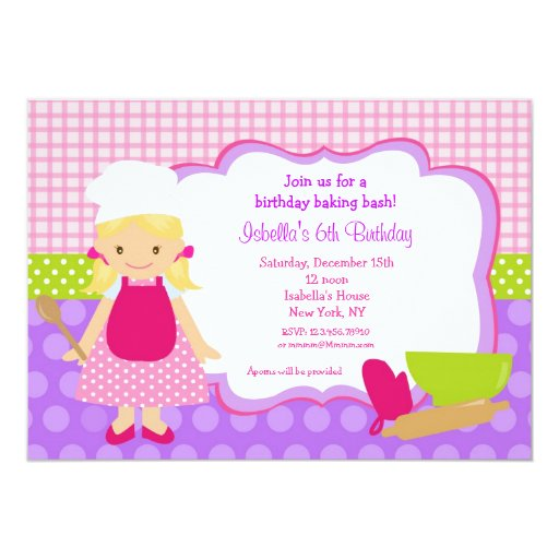 Cooking Baking Birthday Party Invitations | Zazzle