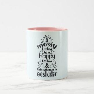 Cooking Baking Kitchen Messy Funny Humor Saying Two-Tone Coffee Mug