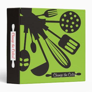 Cooking baking kitchen utensils recipe cookbook 3 ring binder
