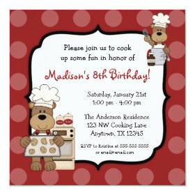 Cooking Bears Kids Birthday Party 5.25x5.25 Square Paper Invitation Card
