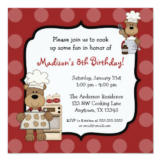 Cooking Bears Kids Birthday Party Invitation