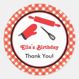 Cooking Birthday Favor Sticker
