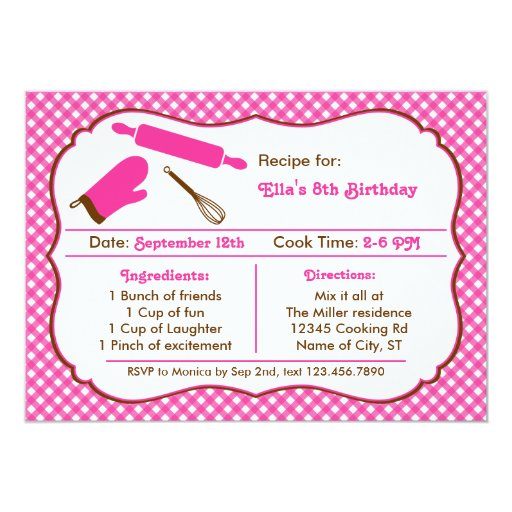 Cooking Birthday Party Invitation | Zazzle