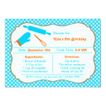 "Cooking Birthday Party Invitation 5"" X 7"" Invitation Card"