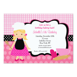"Cooking Birthday Party Invitations 5"" X 7"" Invitation Card"