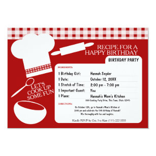 Chef invitations announcements zazzle cooking birthday party recipe card stopboris Choice Image