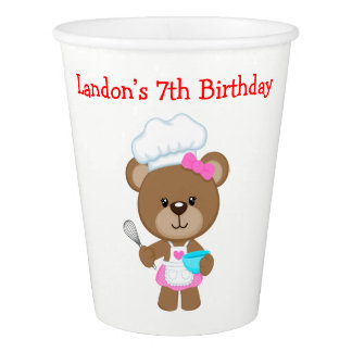 Cooking Chef Bear Birthday Party Paper Cup