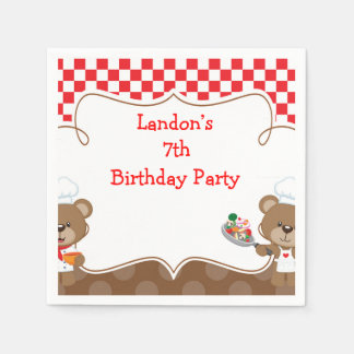 Cooking Chef Bear Birthday Party Paper Napkin