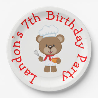 Cooking Chef Bear Birthday Party Paper Plate