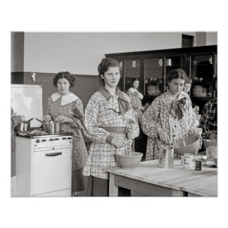 Cooking Class, 1935. Vintage Photo Poster