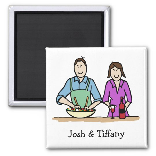 Cooking couple- custom cartoon magnet