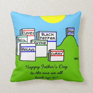 Cooking Expert Spices Cartoon Fathers Day Pillow