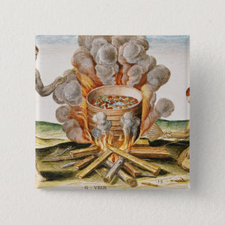 Cooking Food in a Terracotta Pot Pinback Button
