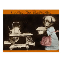 Cooking For Thanksgiving Postcard