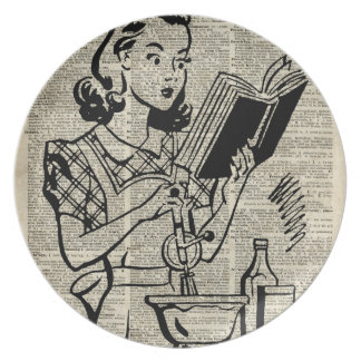 Cooking Girl Illustration over Old Book Page Dinner Plate