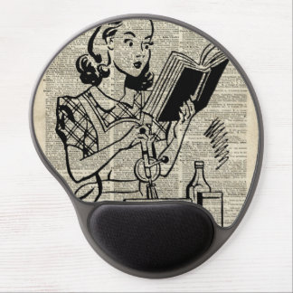 Cooking Girl Illustration over Old Book Page Gel Mouse Pad