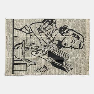 Cooking Girl Illustration over Old Book Page Hand Towel