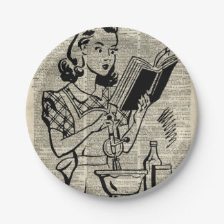 Cooking Girl Illustration over Old Book Page Paper Plate