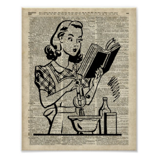 Cooking Girl Illustration over Old Book Page Poster