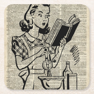 Cooking Girl Illustration over Old Book Page Square Paper Coaster