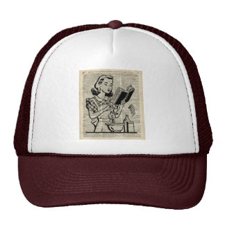 Cooking Girl Illustration over Old Book Page Trucker Hat