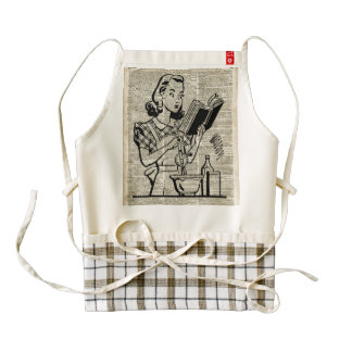 Cooking Girl Illustration over Old Book Page Zazzle HEART Apron