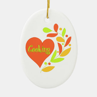 Cooking Heart Double-Sided Oval Ceramic Christmas Ornament