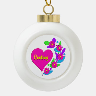 Cooking Heart Ceramic Ball Christmas Ornament