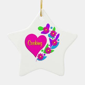Cooking Heart Double-Sided Star Ceramic Christmas Ornament