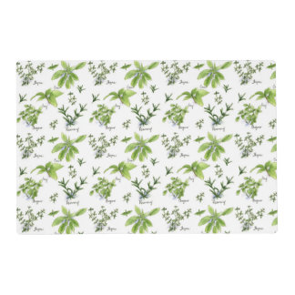 Cooking Herbs Rosemary Basil Thyme Watercolor Placemat