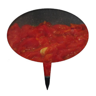 Cooking homemade tomato sauce using fresh tomatoes cake topper