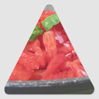 Cooking homemade tomato sauce using tomatoes triangle sticker