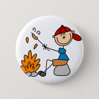 Cooking Hot Dogs Camping Button