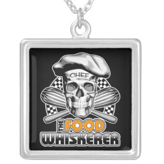 Cooking Humor: Food Whiskerer 6 Silver Plated Necklace