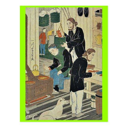 Cooking in settlement house by Utagawa,Yoshikazu Postcard