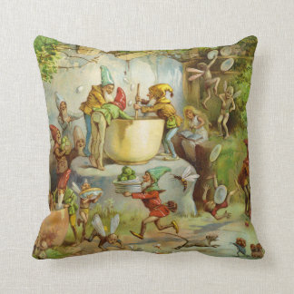 Cooking in the Gnome Kitchen Throw Pillow