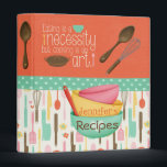 """Cooking Is An Art Recipe Binder<br><div class=""""desc"""">Preserve your family&#39;s recipes in the fun &quot;Cooking Is An Art&quot; recipe binder. Customize with your name on the front.  Matching Recipe Cards Sold Here:  https://www.zazzle.com/cooking_is_an_art_recipe_insert_letterhead-199452220309991312  Matching Recipe Dividers Sold Here: https://www.zazzle.com/recipe_binder_dividers_letterhead-199393530782819934</div>"""