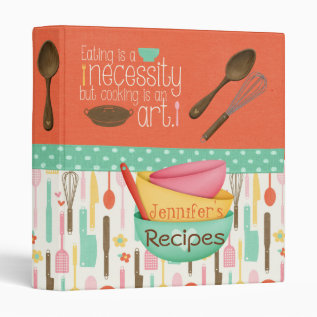 Cooking Is An Art Recipe Binder at Zazzle