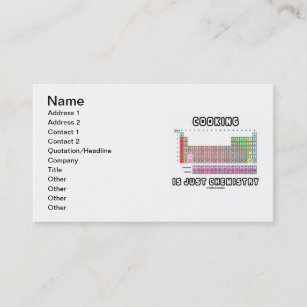 Periodic table business cards zazzle cooking is just chemistry periodic table business card colourmoves