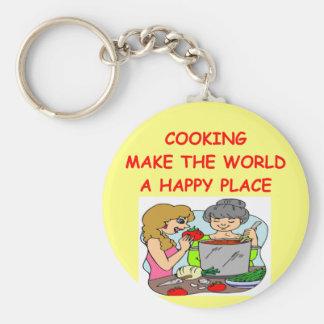 cooking basic round button keychain