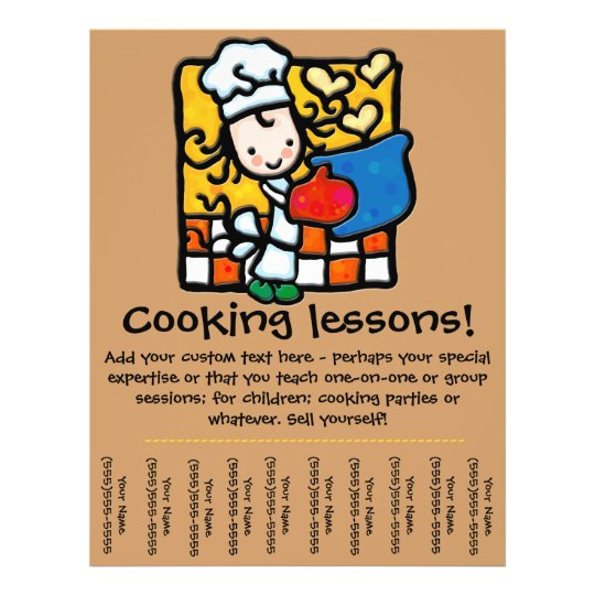 cooking lesson promotional tear sheet flyer