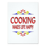Cooking Makes Life Happy 5.5x7.5 Paper Invitation Card