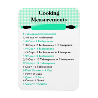 Cooking Measurement Equivalents Chart Magnet