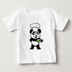 Baby Fine Jersey T-Shirt with Cooking Panda design