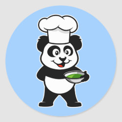 Round Sticker with Cooking Panda design